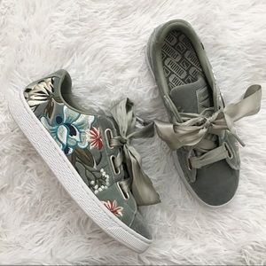 Puma Basket Heart Hyper Embroidered Sneakers
